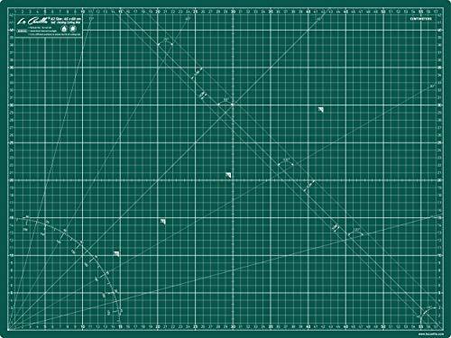 La Canilla ® - Base de Corte Autocicatricante Patchwork A2 (60x45cm) Centímetros y Pulgadas con Cuadrícula Cutting Mat de 5 capas para Costura y Manualidades - Alfombrilla de Corte (Verde)