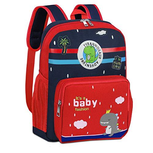 Kinderrucksäcke Großer Kinderrucksack für 3-6 Jahre alte Jungen Mädchen Dinosaurier Rucksack für kleine Grundschule Kindergarten Vorschule,Rot-ba04