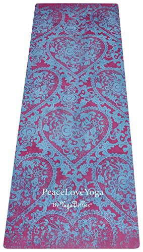 YogaBellies PeaceLove Yogamatte Luxus, für Frauen, Naturkautschuk, Professionelle Yogamatte. Umweltfreundlich. Kein Handtuch Notwendig. Ideal für Hot Yoga 100% Geld zurück Garantie! (Kama 178)