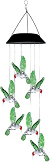 Mobestech Solar Wind Chimes Birds Hanging LED Solar Lights Outdoor Six Bulb Color Changing Hanging Lights Waterproof Wind ...