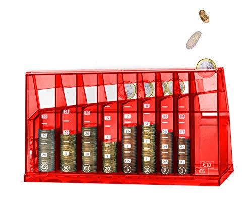 ECB Münzsortierer Euro Spardose | Für Büro und Kinderzimmer | Als Geschenk für Erwachsene und Kinder | Hergestellt aus recyceltem Material | Abschließbar (mit Schlüssel) | Transparent Rot