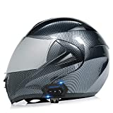 Bluetooth Helm Klapphelme Motorradhelm Full Face Motorrad Integrierter Bluetooth-Motorradhelm ECE-Zertifiziert Helm Funk Sprechanlage Motorrad-Klapphelm Mit Anti-Fog-Doppelscheib E,M=57~58cm