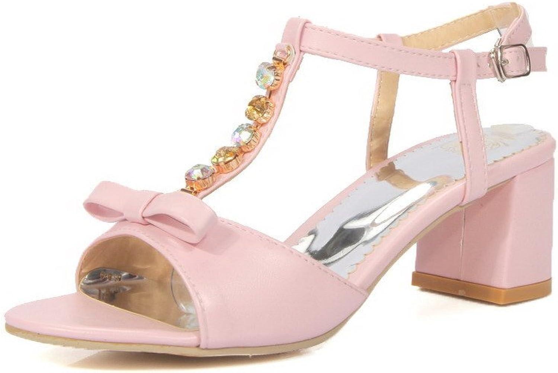 AmoonyFashion Women's PU Solid Kitten Heels Open Toe Buckle Sandals, Pink, 35