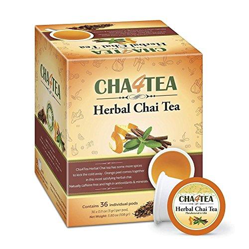 Cha4TEA 36-Count Herbal Chai Tea Pods for Keurig K-Cup covid 19 (Decaffeinated Masala Chai Tea coronavirus)