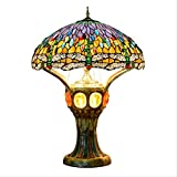 Lámpara De Mesa De Estilo Tiffany Sala De Estar Grande De Lujo Dormitorio Bar Mostrador De Recepción Lobby Lámpara De Mesa Decorativa Lámpara De Vidrio Antiguo Tiffany