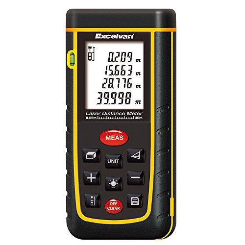 Excelvan A40 - Telémetros Láser Distanciómetro Alcance (0,05 a 40 metros) Medidor Digital de Distancia, Volumen, Area