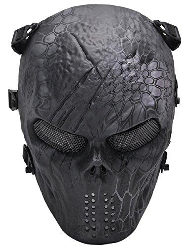 YFNT Tactical Airsoft Maschera Pieno facciale Maschera di Teschio con Rete Metallica Occhio della Caccia Esterna CS Gioco di Guerra Maschera