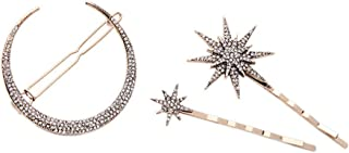 Hair Barrettes Hair Clips Women - CINRA Hair Accessories Hair Pins for Girls Thick Hair Styling Fashion Jewelry Alloy Diamond-studded Moon Star Pendant