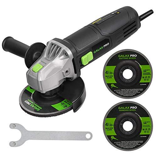 GALAX PRO Amoladora angular 500 W 12000 RPM amoladora con 2 discos de 115 mm y protección del disco, para molar/pulido/corte