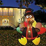 winemana 6 FT Thanksgiving Inflatable Turkey, Blow up Lighted Turkey Decor with LED Lights for Indoor Outdoor Yard Garden Thanksgiving Decoration