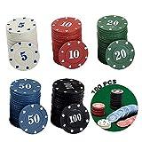 Fichas de póquer para fiestas, rouleta, casino, fichas de póquer, fichas de póquer, fichas de póquer, fichas de póquer, caja de 100 fichas, 5 colores