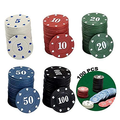 Poker Chips Für Party Poker Roulette Casino Chips Pokerset Mit Pokerchips Poker Chips Kunststoff 100 Stück Poker Chips Set Pokerkoffer Deluxe Pokerchips Mit Box Für 100 Chips Aufbewahrung 5 Farben