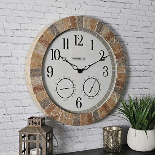 "FirsTime & Co. Sandstone Outdoor Clock, 18"", Tan Stone"