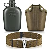 1 Quart Plastic Canteen Military Canteen Portable Military Water Bottle with Bottle Pouch Cotton Cover Bag and Waist Belt for Backpacking Hiking Camping Climbing Outdoor Activities