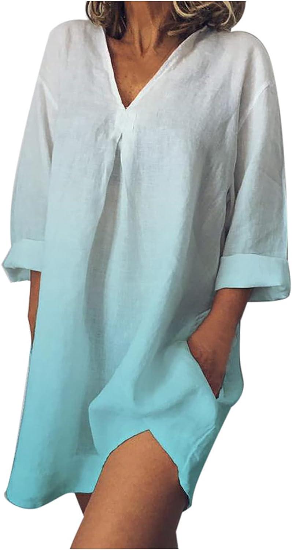 Wadonerful Women Plus Size Summer V 5% OFF Gradient Cotton Dresses Max 56% OFF Neck