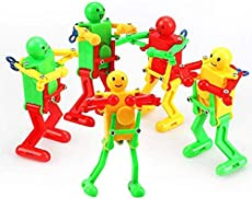 CiCy 5 Pcs Spring Clockwork Wind-up Dancer Dancing Walking Robot Toy for Baby Kid Children,Robot Buddies for Kids Role Playing, Robots Theme Party Activity, Party Favors