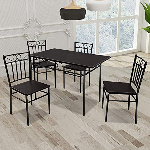 Harper & Bright Designs 5-Piece Dining Table Set,Wood and Metal Kitchen Table Set for Dining Room, Dinette, Breakfast Nook w/ 4 Chairs, Oak