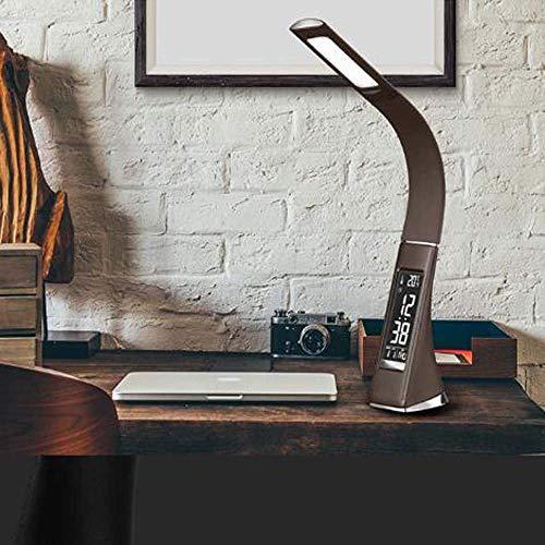 SDHouse Lámpara Escritorio Luz LED Ojo Enchufe USB luz Nocturna Calendario Creativo Reloj Raya Temperatura analógica lámpara de Cuero D9xH49cm (Color:Negro) (Color : Brown)