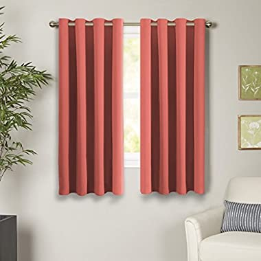 Turquoize 99% Blackout Curtains Energy Efficient Solid 2 Panels Thermal Insulated Girls Room Curtain Set, Coral Curtain Drapes, Each Panel 52  W x 63  L, Grommet