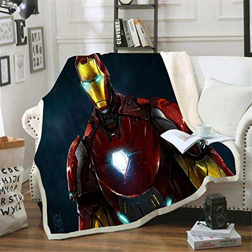 Itscominghome - Impresión 3D de franela Iron Man, utilizada en el sofá, dormitorio, sala de estudio, salón, etc. (Iron Man 07,150 x 200 cm)