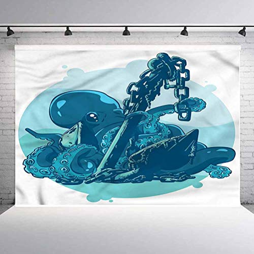 5x5FT Vinyl Photo Backdrops,Octopus,Anchor in Ocean Retro Art Background for Selfie Birthday Party Pictures Photo Booth Shoot