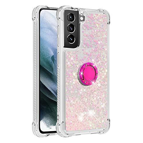 Diamant Ring Flüssig Treibsand Silikon TPU Bumper Hülle für Samsung Galaxy S21 + 5G/ S21 Plus 5G(Fluoreszierende rosa Sterne)