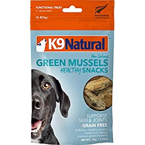 K9 Natural Freeze Dried Dog Treats By Perfect Grain Free, Healthy, Hypoallergenic Limited Ingredients Snacks For All Dog Types – Raw, Freeze Dried Treats – New Zealand Green Mussel Bites – 1.76oz