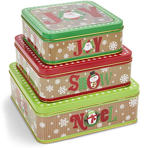 Nesting Tins Set, Metal Christmas Canisters with Lids (3 Sizes, 3 Pack)