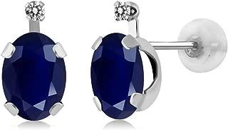 Gem Stone King 14K White Gold Oval Blue Sapphire & White Diamond Women's Earrings (2.05 cttw, Center Sapphire: 7x5 milimeters, Small Diamond: 1 milimeters)