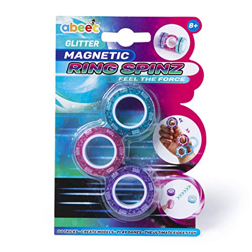 abeec Glitter Magnetic Ring Spinz - Magnetic Rings Fidget Toy in 3 Assorted Glitter Colours - Magnetic Toys Stress Relief for Anxiety - Hand Spinner Fidget Rings for Kids 8+