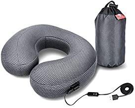 GRAPHENE TIMES Inflatable Travel Pillow - Heated Neck Pillow for Neck Therapy with Adjustable Temperature, Inflatable U Shape Airplane Pillow with Packing Bag, Perfect for Sore or Painful Neck