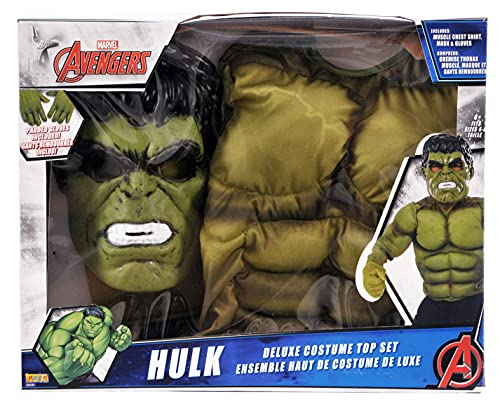 Avengers - Disfraz de Hulk infantil, con pecho, máscara y guantes, talla M (Rubie's Spain 34101)
