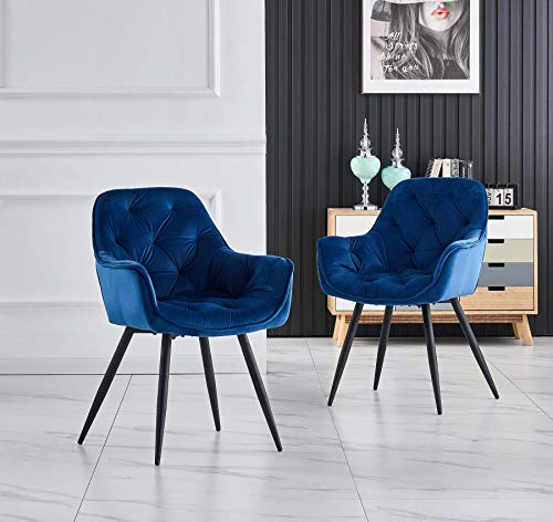 Greneric 2er Set Blau Esszimmerstuhl aus Stoff (Samt) Wohnzimmerstuhl Farbauswahl Retro Design Armlehnstuhl Stuhl mit Rückenlehne Sessel Metallbeine Schwarz (Blau, 2)