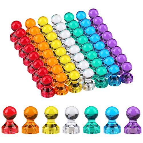 Magnete Whiteboard 56 Stück Mini Magnet 11 x 17mm Kunststoffmagnet Kühlschrank Magnete Kegelmagnete Notenmagnete für Magnettafel, Whiteboard, Notenständer, Pinnwand mit Aufbewahrungs Box 7 Farben