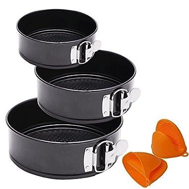 Vivoice Springform Pan Non-stick Cheesecake Pan Cake Pan Leakproof Baking Pan Bakeware 3pcs(7 /8 /9 ) for Instant Pot with 1 Pair Cooking Pinch Mitts (black)