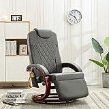 FAMIROSA Sillón de Masaje reclinable para TV Cuero sintético gris-8720