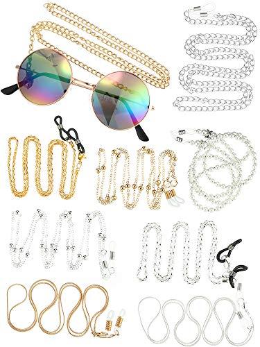 10 Piezas Gafas de Sol de Mujer Gafas de Sol de Cadena Correa de Cuerda Cordón Sujetador de Cuerda Alrededor del Cuello para Pareja Amigo de da Familia