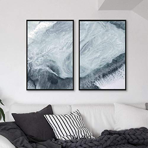 HUANGXLL Ocean Blue Prints Mármol Abstracto Aqua Green Water Beach Sea Coast Posters Lienzo Pintura Cuadros de Pared Home Room Decor-50x70cmx2Pcs-Sin Marco