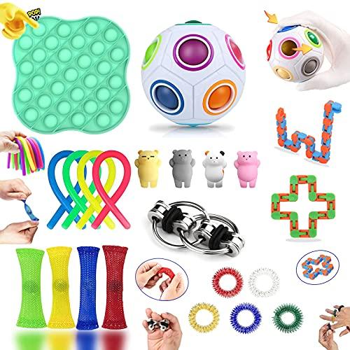 Fidget Toy Set, Fidget Toy Set Box für Kinder oder Erwachsene, Antistress Spielzeug Anxiety Toy für Stressabbau und Anti-Angst, Fidget Toys Pack für Geburtstagsfeier, Klassenbelohnungen (22 Stück)