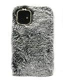 3C Collection Fundas iPhone 11 Peludo Gris Ahumado, Fundas iPhone 11 Mullido, Rhinestone de Bling Velloso Pelo Fundas para iPhone 11 6.1 Pulgada...