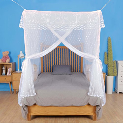 Artistic Mosquito Net Bed Canopy XL for California King Beds, No Insecticide, with Heart-Shaped Pattern Strong Diamond Mesh, Three-Door, Bonus ebook/Hanging Kit/Storage Bag/User Guide Included
