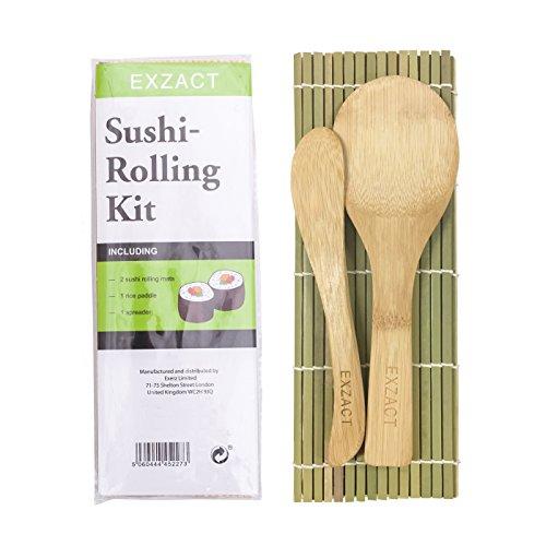 EXZACT EX-SR04 Kit sushi in bambù per arrotolare 4 pezzi - 2 x stuoie, 1 x paletta riso, 1 x spalmatore riso, tutti...