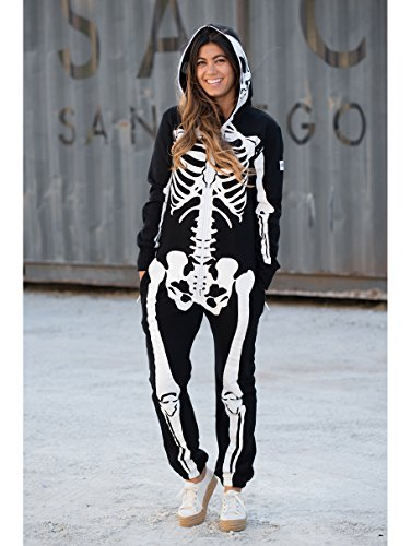 Tipsy Elves' Women's Skeleton Costume - Scary Black and White Halloween Jumpsuit Size Medium