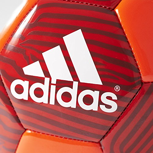 adidas Performance MUFC Soccer Ball, 5, Solar Red/Scarlet/Black/White