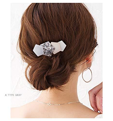 [creamdotクリームドット]重なる五角形プレートのヘアバレッタA:グリーン×ワンサイズ