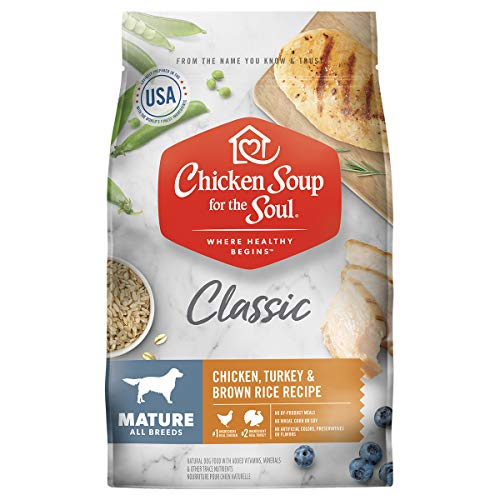 Chicken Soup for The Soul Mature Dog Food, Chicken, Turkey & Brown Rice Recipe, 28 lb. Bag | Soy Free, Corn Free, Wheat Free | Dry Dog Food Made with Real Ingredients, 101029