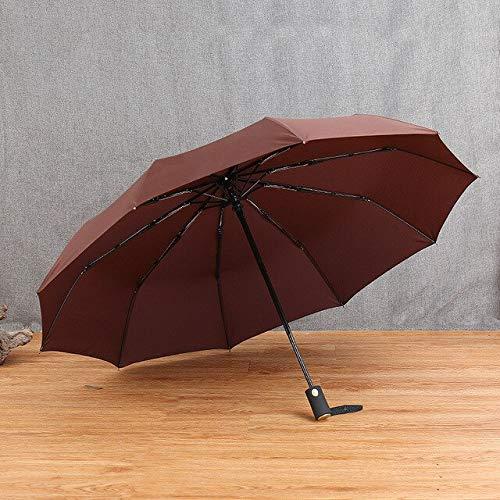 ZGMMM Automatikschirm Regen Winddicht DREI Falten Frauen Auto Winddicht Regenschirme Männer Rahmen Frankreich Kaffee
