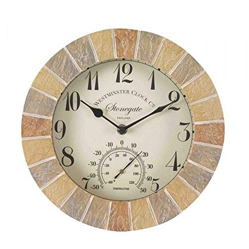 Smart Garden Outside-In Stonegate Sandstone 10in Wall Clock and Thermometer (5065030)