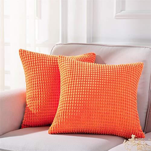 Topfinel Cojines Pana Granulado Funda de Cojín de Almohada Suave Decorativa Cuadrado Poliéster para Dormitorio Salón Hogar Sala de Estar 45x45cm 2 Piezas Naranja