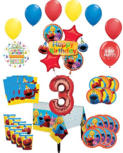 Sesame Street Party Supplies 3rd Birthday 8 Guest Table Decorations and Balloon Bouquet